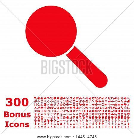 Search Tool icon with 300 bonus icons. Vector illustration style is flat iconic symbols, red color, white background.