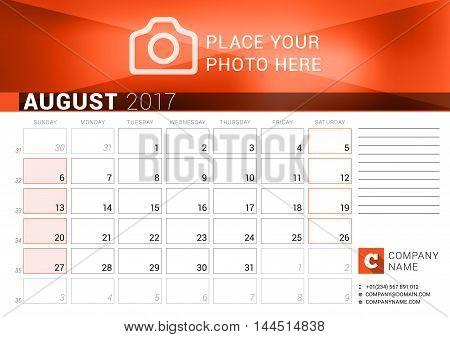 Desk Calendar For 2017 Year. August. Vector Design Print Template. Week Starts Sunday