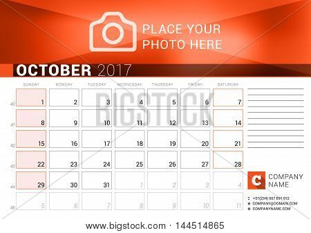 Desk Calendar For 2017 Year. October. Vector Design Print Template. Week Starts Sunday