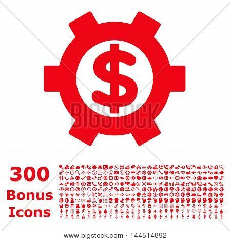 Financial Settings icon with 300 bonus icons. Vector illustration style is flat iconic symbols, red color, white background.