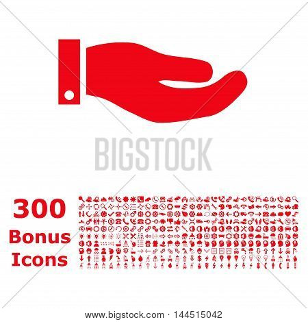 Hand icon with 300 bonus icons. Vector illustration style is flat iconic symbols, red color, white background.