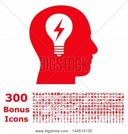 Head Bulb icon with 300 bonus icons. Vector illustration style is flat iconic symbols, red color, white background.