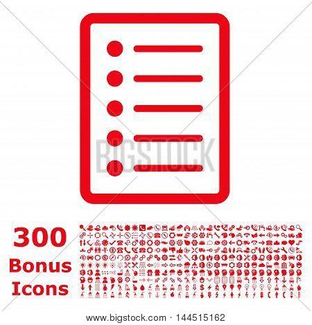 List Page icon with 300 bonus icons. Vector illustration style is flat iconic symbols, red color, white background.