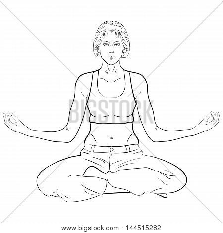 silhouette of a woman practicing yoga ablack and white drawing on a white background