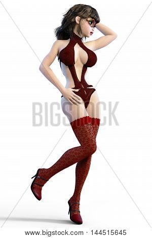 Sexy glamorous girl in red mask, body swimsuit and stockings. Young beautiful woman in studio. Seductive candid pose. Photorealistic 3D render illustration. Isolate, high key.
