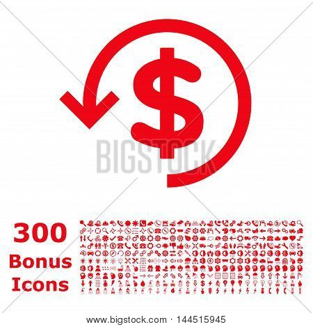 Refund icon with 300 bonus icons. Vector illustration style is flat iconic symbols, red color, white background.