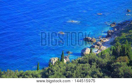 View Over A Azur Blue Coast On Corfu Island