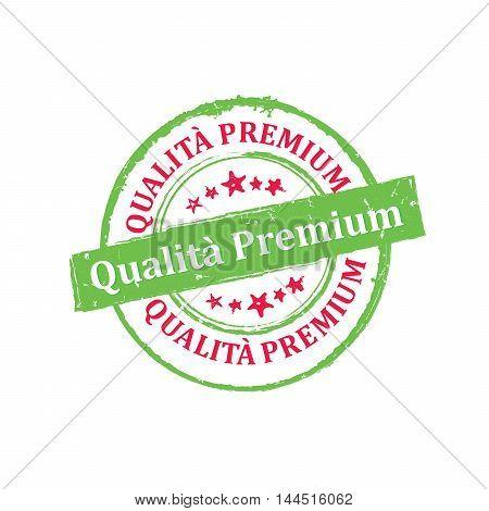 Premium Quality (Italian language) - grunge stamp / label. Print colors used