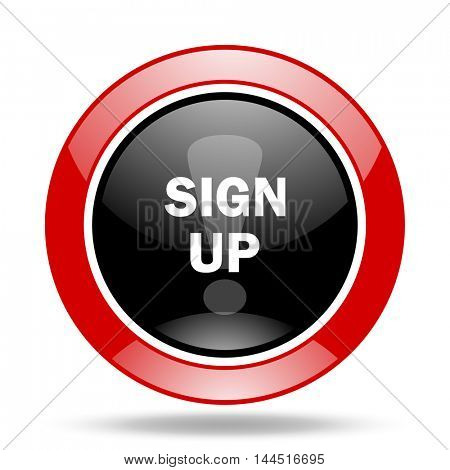 sign up round glossy red and black web icon