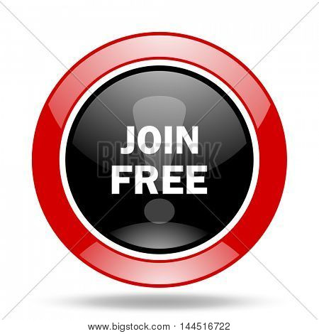 join free round glossy red and black web icon