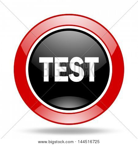 test round glossy red and black web icon