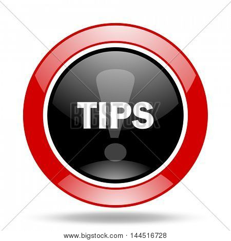 tips round glossy red and black web icon