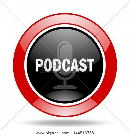 podcast round glossy red and black web icon