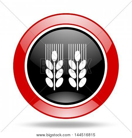 agricultural round glossy red and black web icon