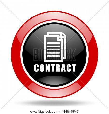 contract round glossy red and black web icon