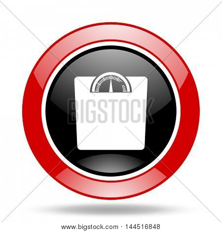 weight round glossy red and black web icon