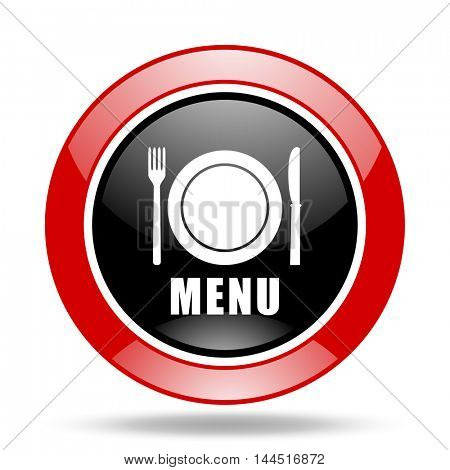 menu round glossy red and black web icon