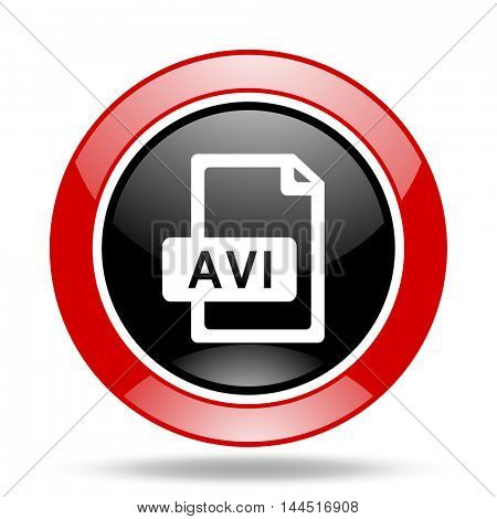 avi file round glossy red and black web icon
