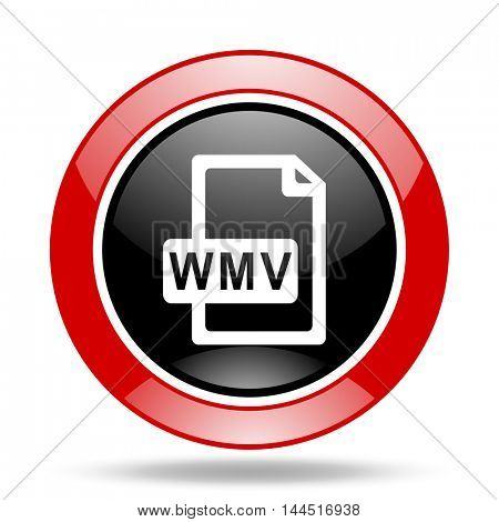 wmv file round glossy red and black web icon