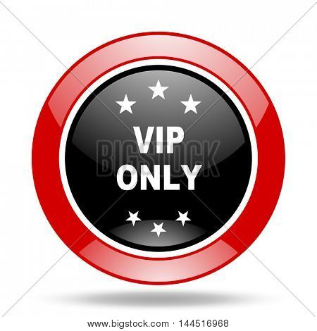 vip only round glossy red and black web icon