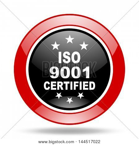 iso 9001 round glossy red and black web icon