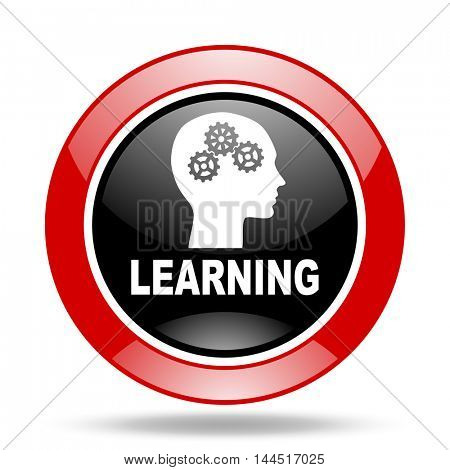 learning round glossy red and black web icon