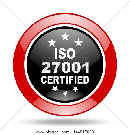 iso 27001 round glossy red and black web icon