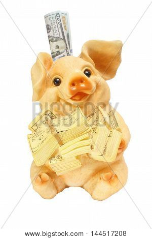 Pig piggy bank with money piggy bank money for debugging a dream