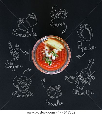 Tasty no-cook soup gaspacho and chalk ingredients.
