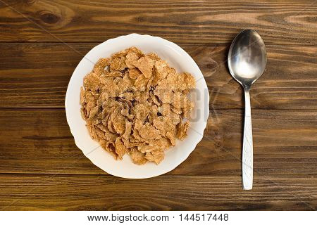 closeup of a bowl with muesli at breakfast time