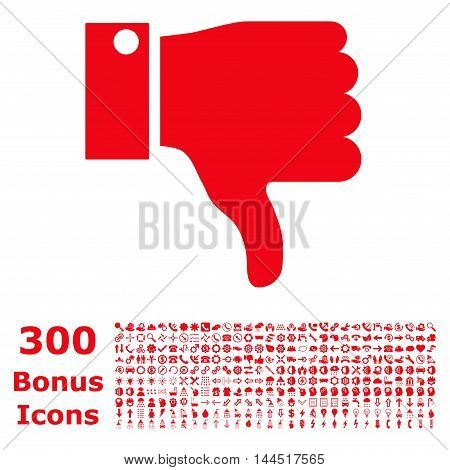 Thumb Down icon with 300 bonus icons. Vector illustration style is flat iconic symbols, red color, white background.