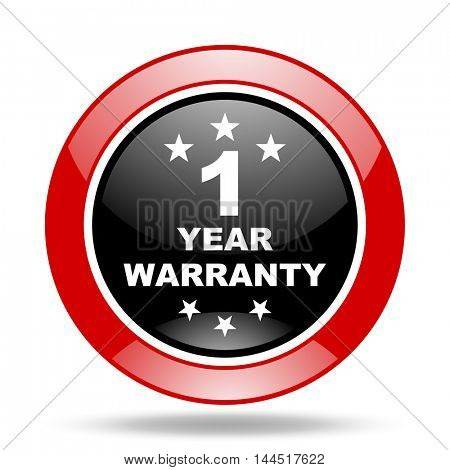 warranty guarantee 1 year round glossy red and black web icon