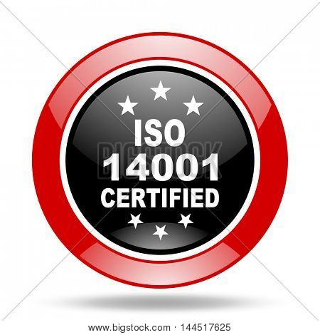 iso 14001 round glossy red and black web icon