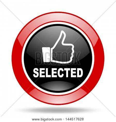 selected round glossy red and black web icon