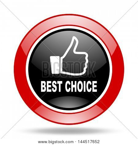 best choice round glossy red and black web icon