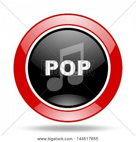 pop music round glossy red and black web icon