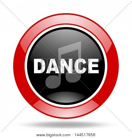 dance music round glossy red and black web icon
