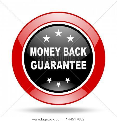 money back guarantee round glossy red and black web icon