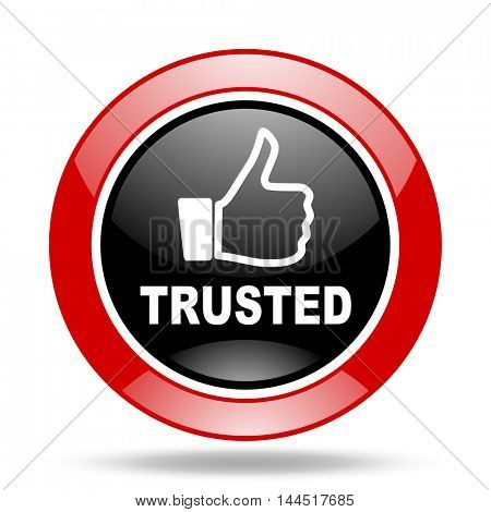 trusted round glossy red and black web icon