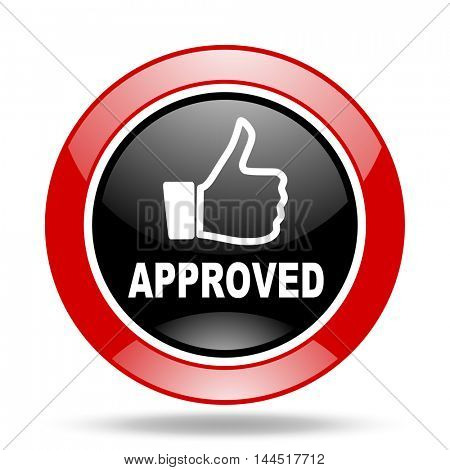 approved round glossy red and black web icon
