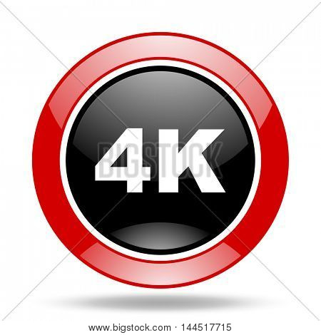 4k round glossy red and black web icon