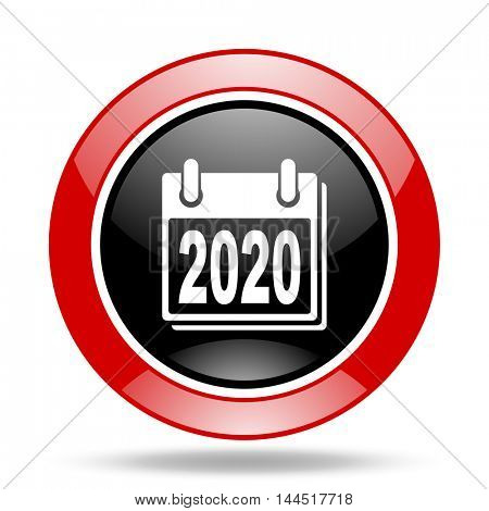 new year 2020 round glossy red and black web icon