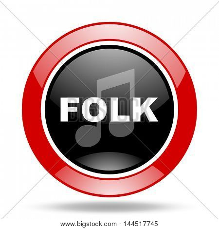 folk music round glossy red and black web icon
