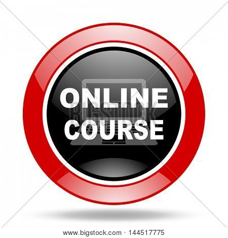 online course round glossy red and black web icon