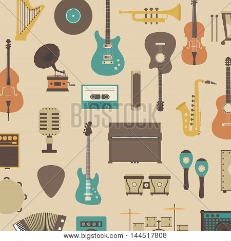 set of abstract classical music instrument icon retro style