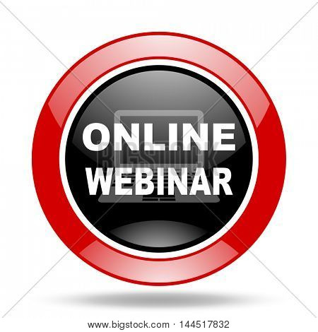 online webinar round glossy red and black web icon