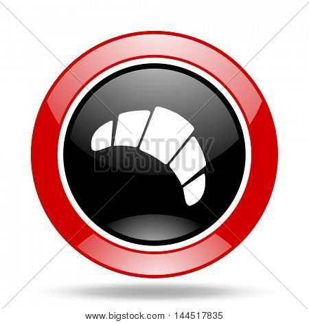 croissant round glossy red and black web icon
