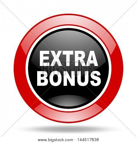 extra bonus round glossy red and black web icon