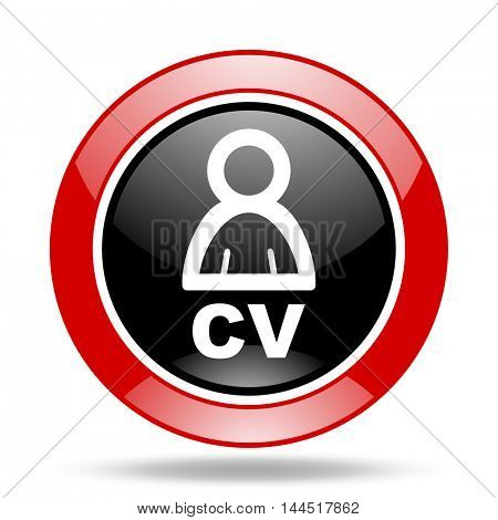 cv round glossy red and black web icon