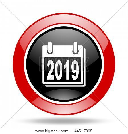 new year 2019 round glossy red and black web icon